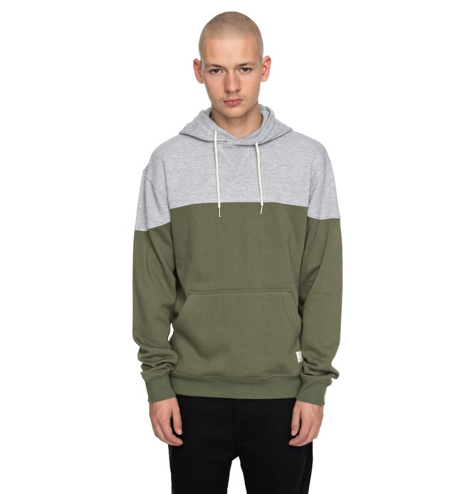 0 Men's Rebel Blocked Hoodie Green EDYFT03340 DC Shoes