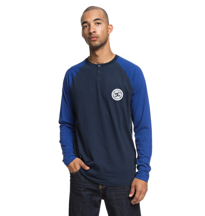 0 Basic Long Sleeve Henley Top Blue EDYKT03414 DC Shoes