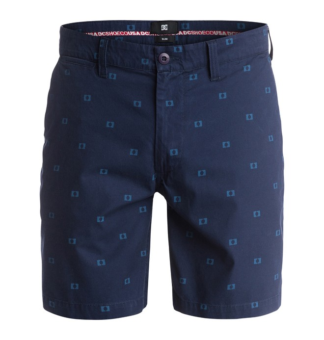 0 Men's Worker Print Slim 18 Shorts  EDYWS03014 DC Shoes