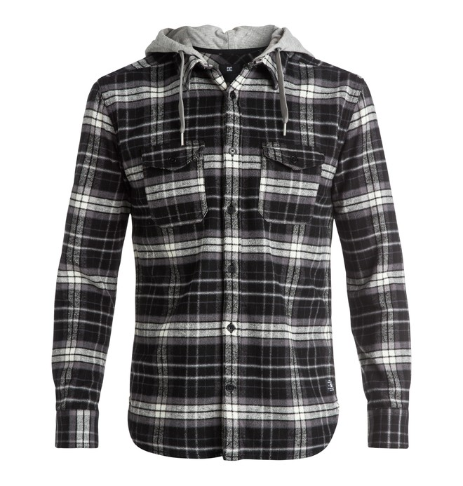 0 Men's Runnels Flannel Hooded Long Sleeve Shirt  EDYWT03111 DC Shoes