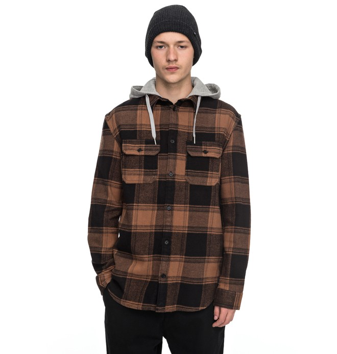 0 Men's Runnel Flannel Long Sleeve Hooded Shirt Brown EDYWT03162 DC Shoes