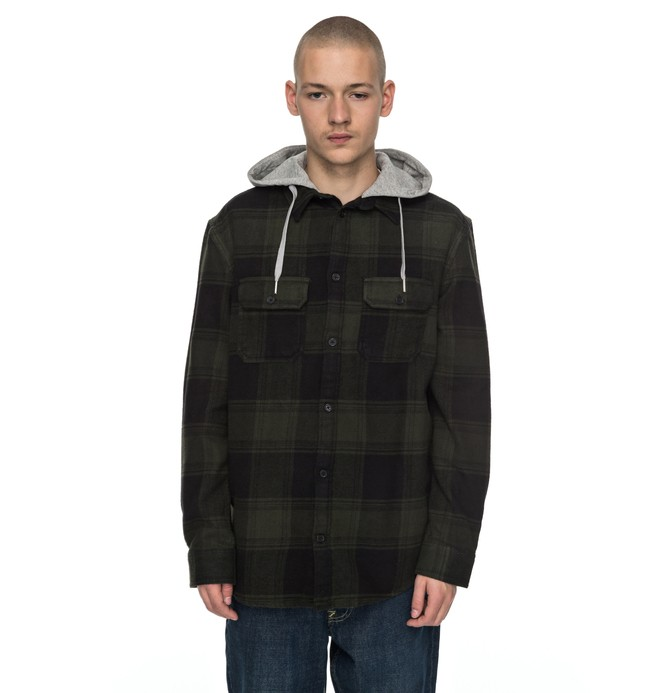 0 Men's Runnel Flannel Long Sleeve Hooded Shirt  EDYWT03162 DC Shoes