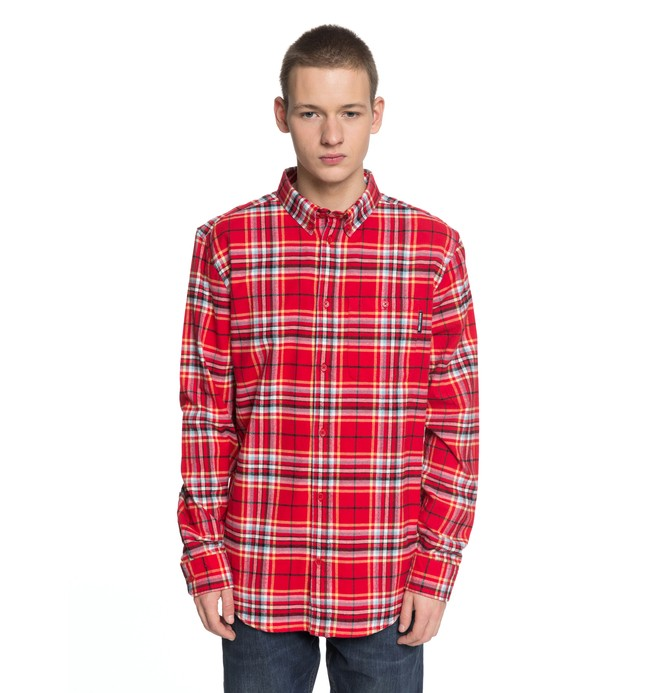 0 Men's South Ferry Long Sleeve Shirt Red EDYWT03187 DC Shoes