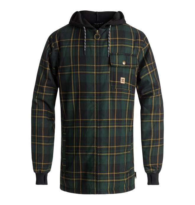 0 Men's Backwoods Technical Zip-Up Hoodie Green EDYWT03199 DC Shoes