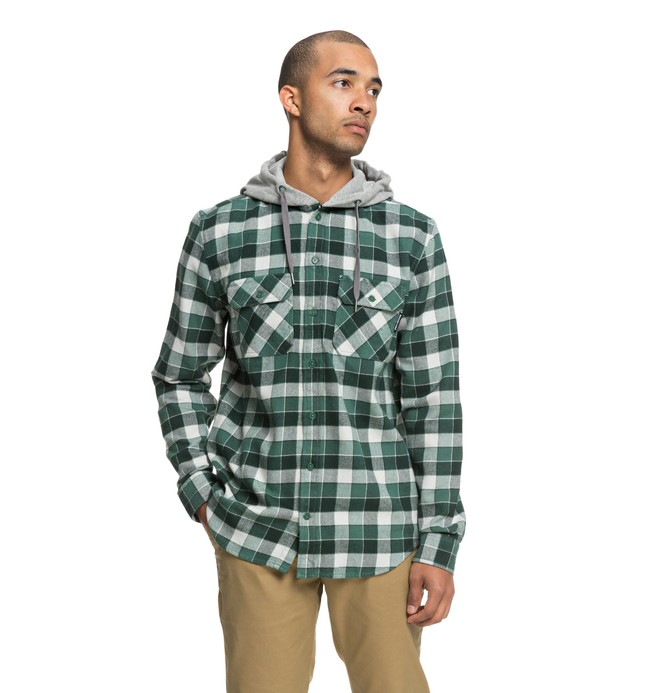 0 Men's Runnels Long Sleeve Hooded Flannel Shirt Green EDYWT03201 DC Shoes