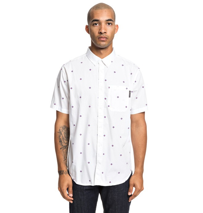 0 Up Pill Short Sleeve Shirt White EDYWT03221 DC Shoes