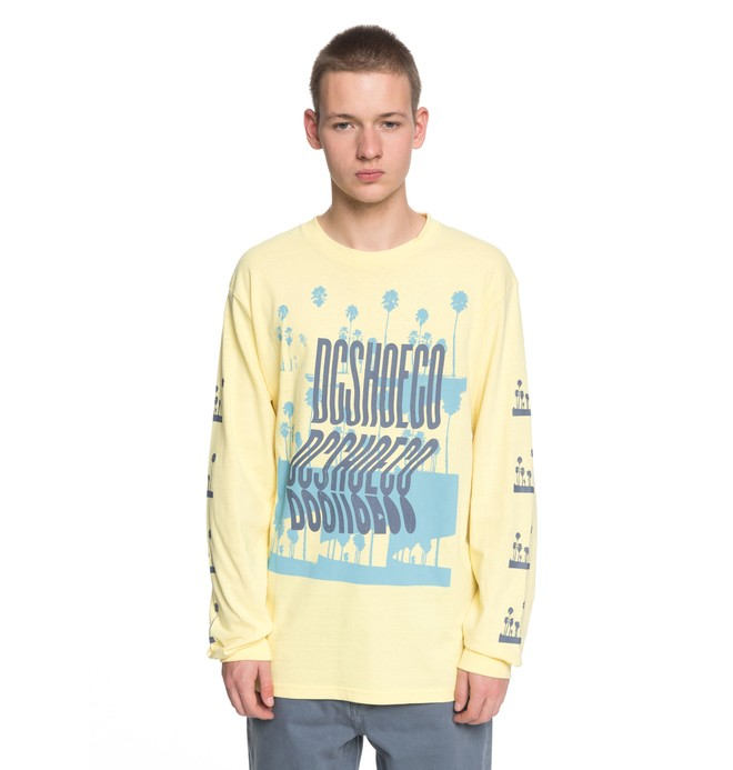 0 Men's Palm A Ray Long Sleeve Tee Yellow EDYZT03775 DC Shoes