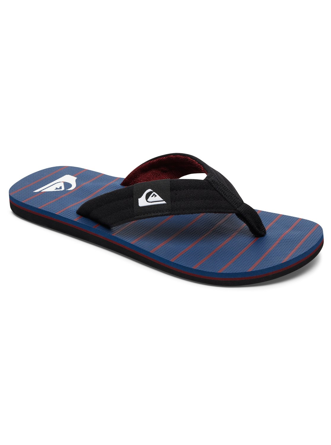 Mens Quiksilver Mokokai Layback 3 Point Flip Flops Sandals Red White Blue USA