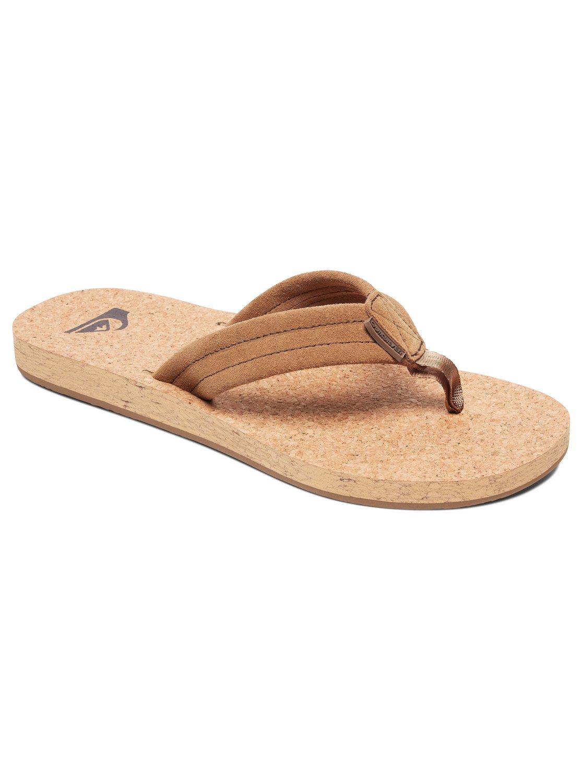 deb89b9825b 0 Carver Cork Leather Sandals Brown AQYL100597 Quiksilver
