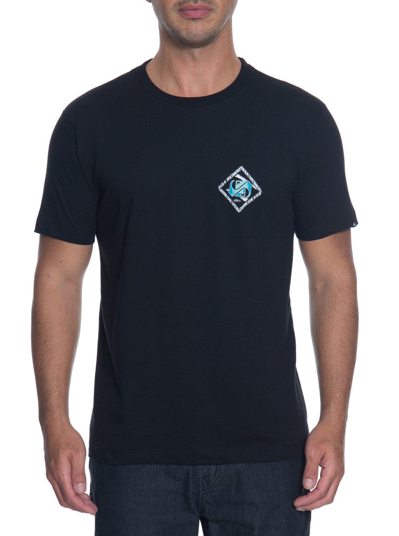 2 Camiseta Masculina Manga Curta Estampa Frente e Costas Quiksilver Preto  BR61114275 Quiksilver 0598b9d17f2