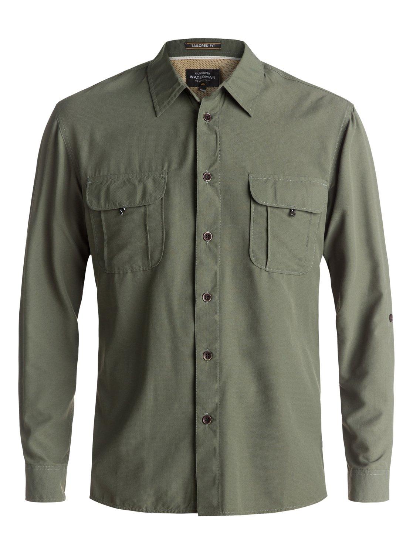 4 Waterman Trailblazing - Long Sleeve Shirt for Men Green EQMWT03107  Quiksilver 0a40b280da5