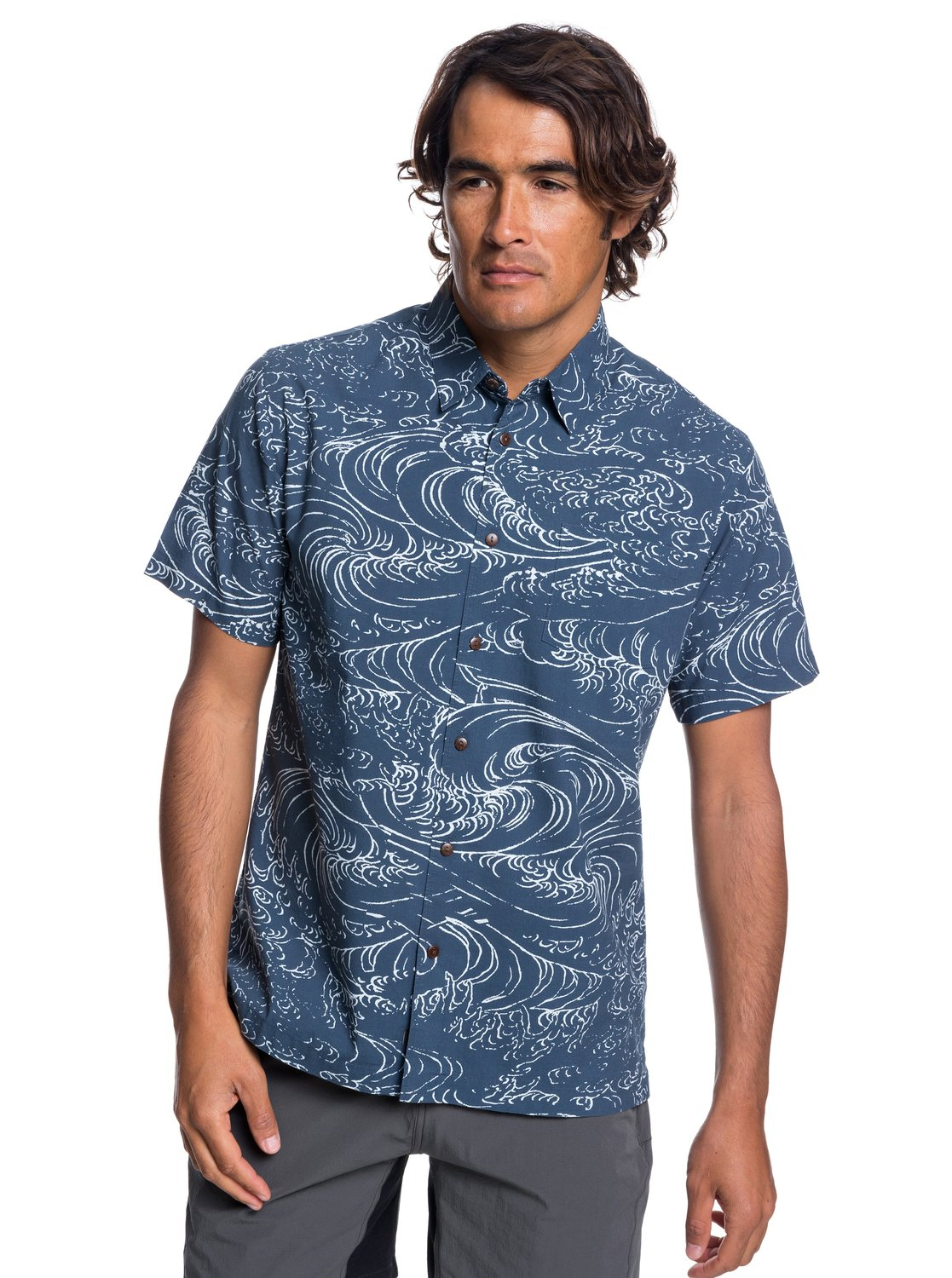 b6472df1790d5 0 Waterman Wind And Waves - Short Sleeve Shirt for Men Blue EQMWT03192  Quiksilver
