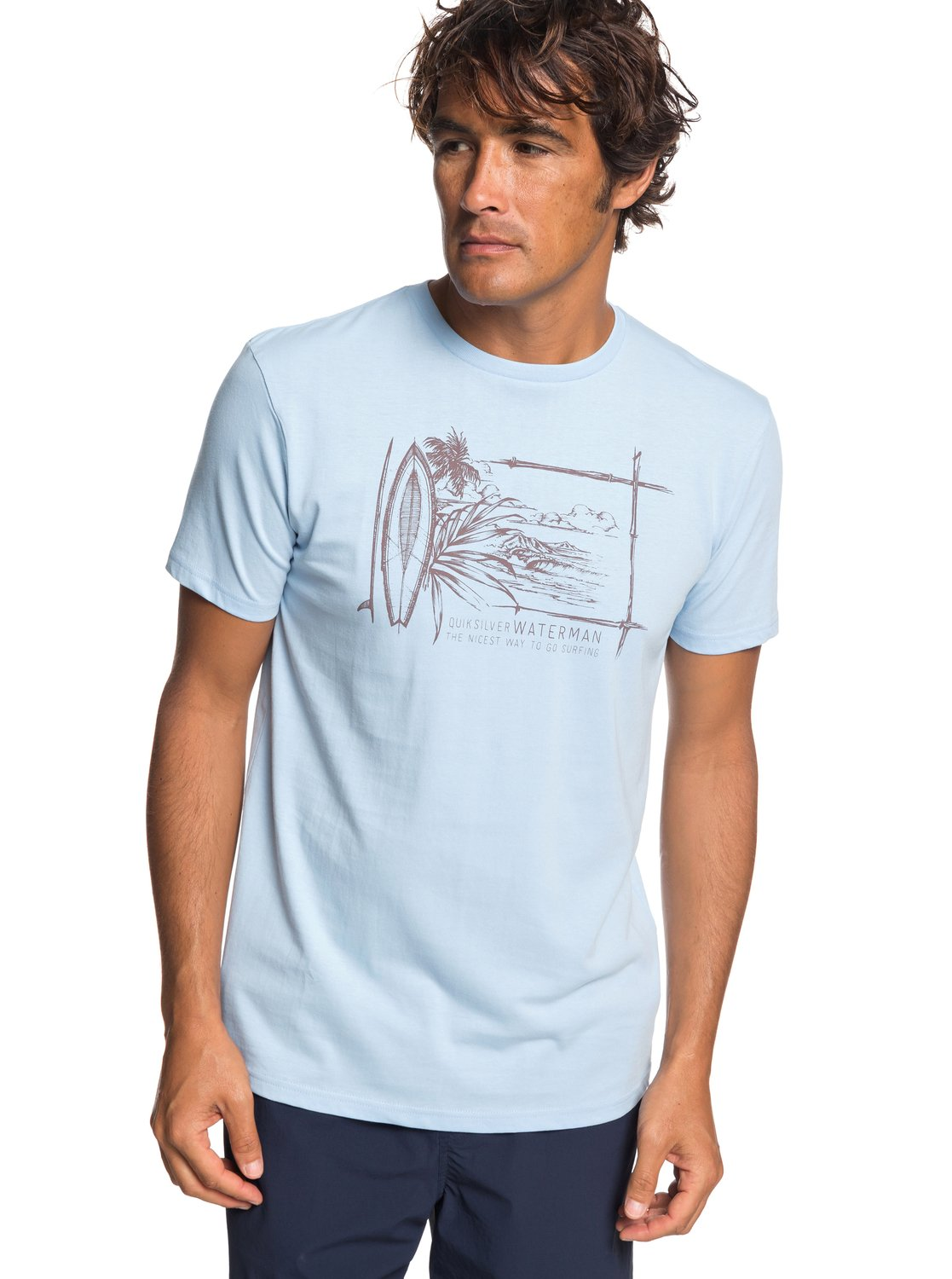 54b0ab054b6 0 Waterman Simple Lines - T-Shirt for Men Blue EQMZT03143 Quiksilver
