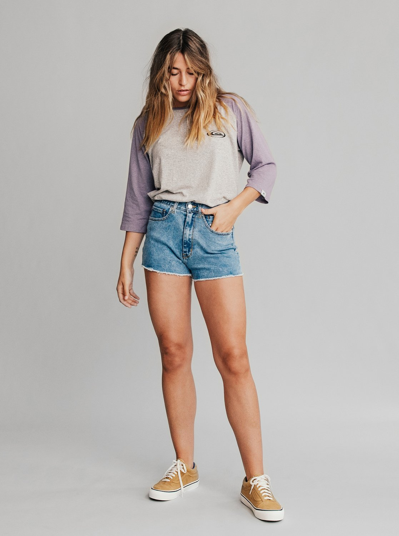 5 Quiksilver Womens - Short taille haute en denim pour Femme Bleu  EQWDS03000 Quiksilver 1909732b931