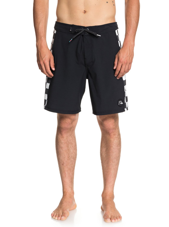 para 0 Negro Quiksilver Pantalones de EQYBS04018 Checker playa Hombre 18 cortos w68x6qYv