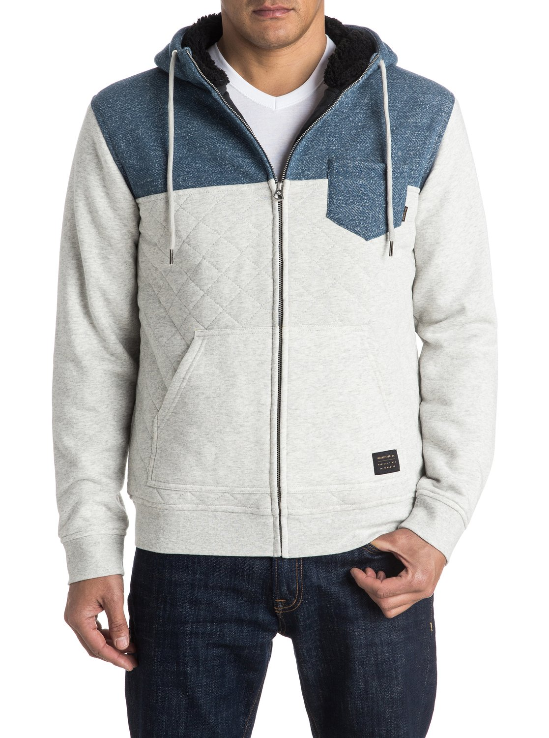 man hoodie grey fleece men quilt zip sweater itm superhero spider az up quilted marvel jacket