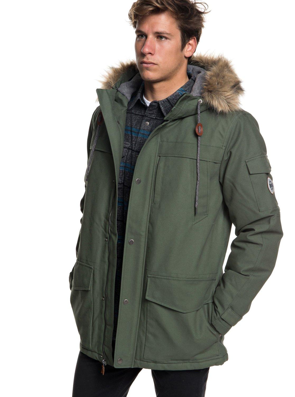 0 Storm Drop 5K - Waterproof Hooded Parka for Men Brown EQYJK03445  Quiksilver 6453219f42d