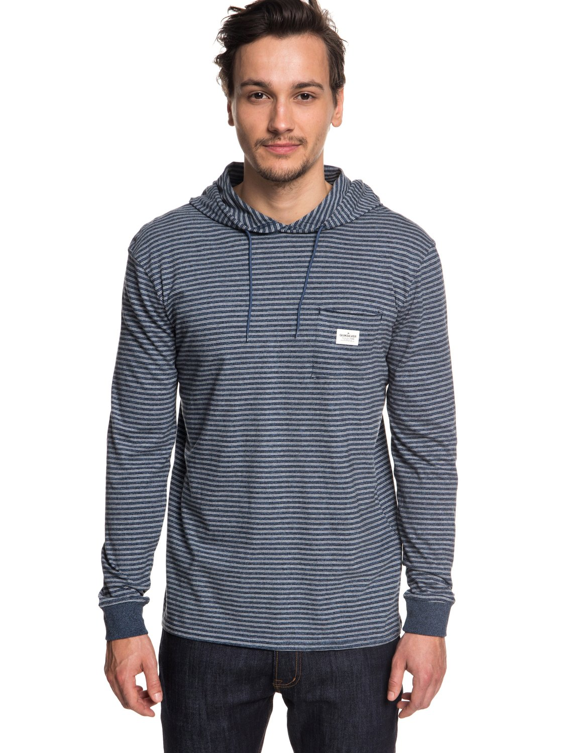 e9cd8dd007ae 0 Zermet - Long Sleeve Hooded T-Shirt for Men Blue EQYKT03781 Quiksilver