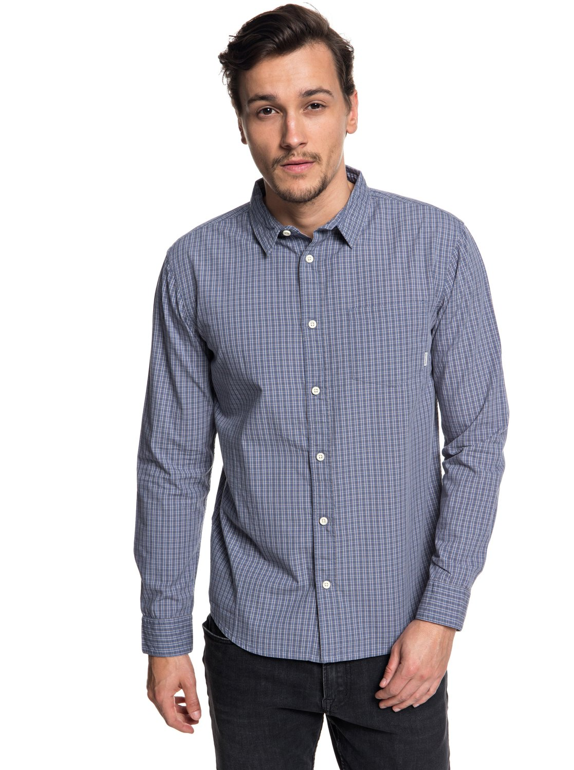 3bee0265bf0 0 Everyday Check - Long Sleeve Shirt for Men Black EQYWT03722 Quiksilver