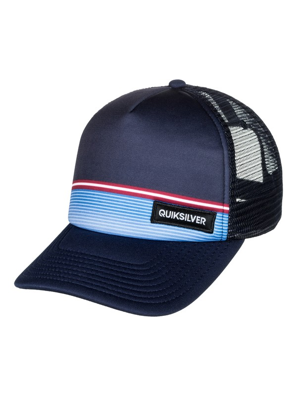 0 Boy's 8-16 Stripe Stare Trucker Hat Blue AQBHA03296 Quiksilver