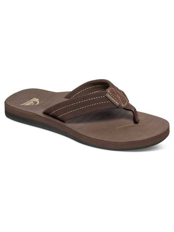 0 Boy's 8-16 Carver Suede Leather Sandals Brown AQBL100275 Quiksilver