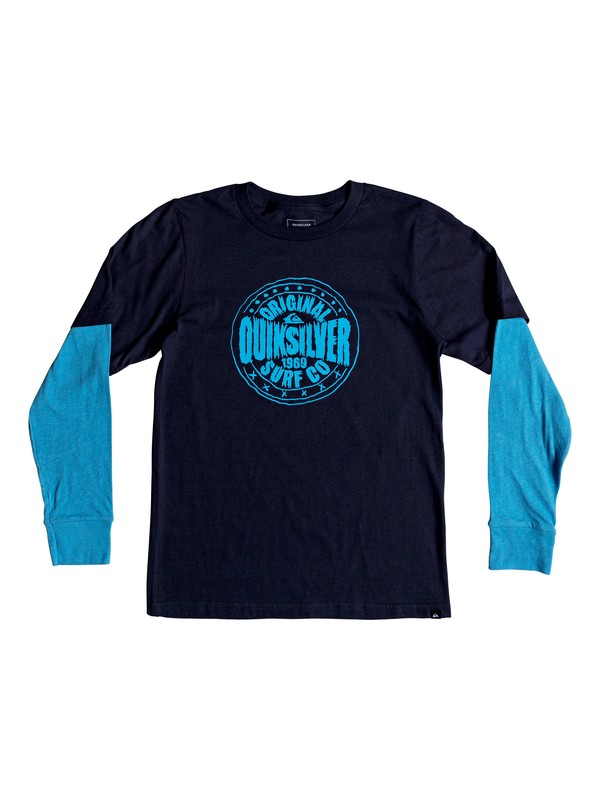 0 Boy's 8-16 Rocking Rails Long Sleeve Tee Blue AQBZT03421 Quiksilver