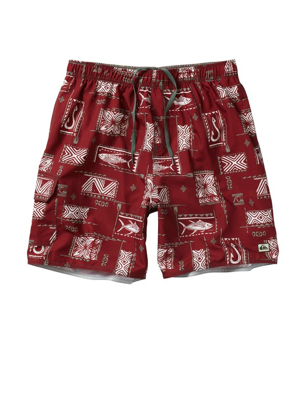 0 Men's Fish Block Volley Boardshorts  AQMJV00007 Quiksilver