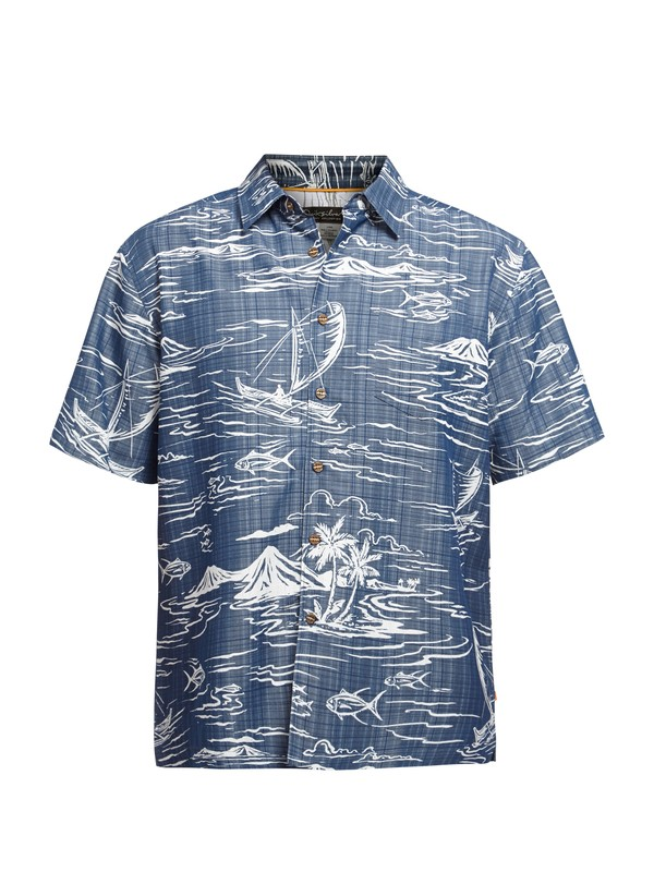 0 Men's Poipu Beach Short Sleeve Shirt  AQMWT03030 Quiksilver
