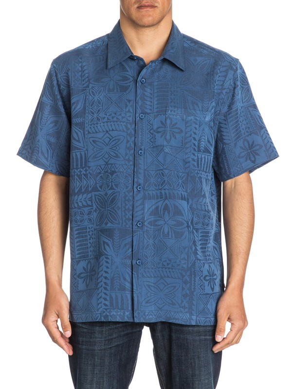 0 Waterman Aganoa Bay Short Sleeve Shirt Blue AQMWT03105 Quiksilver