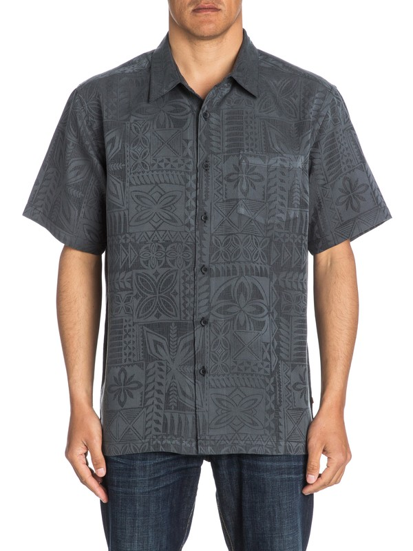 0 Waterman Aganoa Bay Short Sleeve Shirt Black AQMWT03105 Quiksilver
