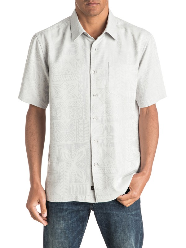 0 Waterman Aganoa Bay Short Sleeve Shirt Grey AQMWT03105 Quiksilver