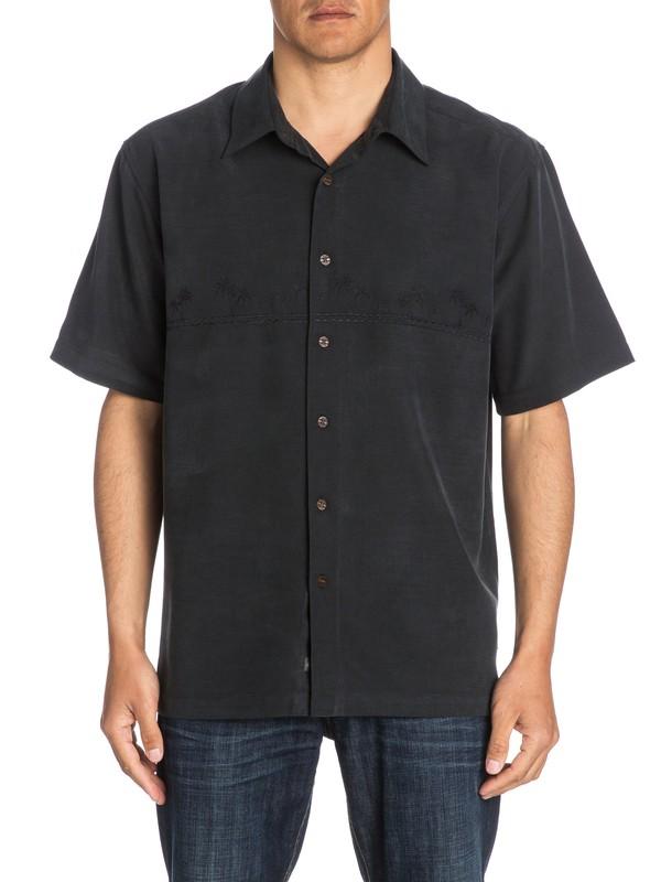 0 Waterman Tahiti Palms Short Sleeve Shirt Black AQMWT03108 Quiksilver