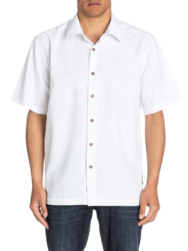0 Waterman Tahiti Palms Short Sleeve Shirt White AQMWT03108 Quiksilver