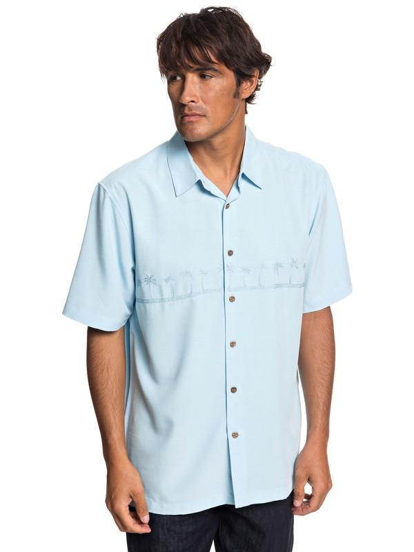 0 Camisa Manga Corta Tahiti Palms Waterman Azul AQMWT03108 Quiksilver