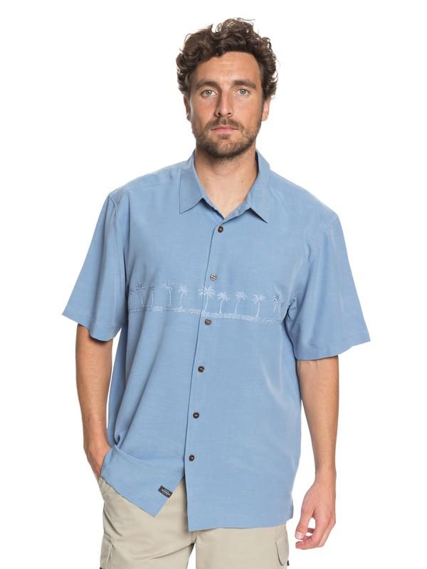 0 Waterman Tahiti Palms Short Sleeve Shirt Blue AQMWT03108 Quiksilver