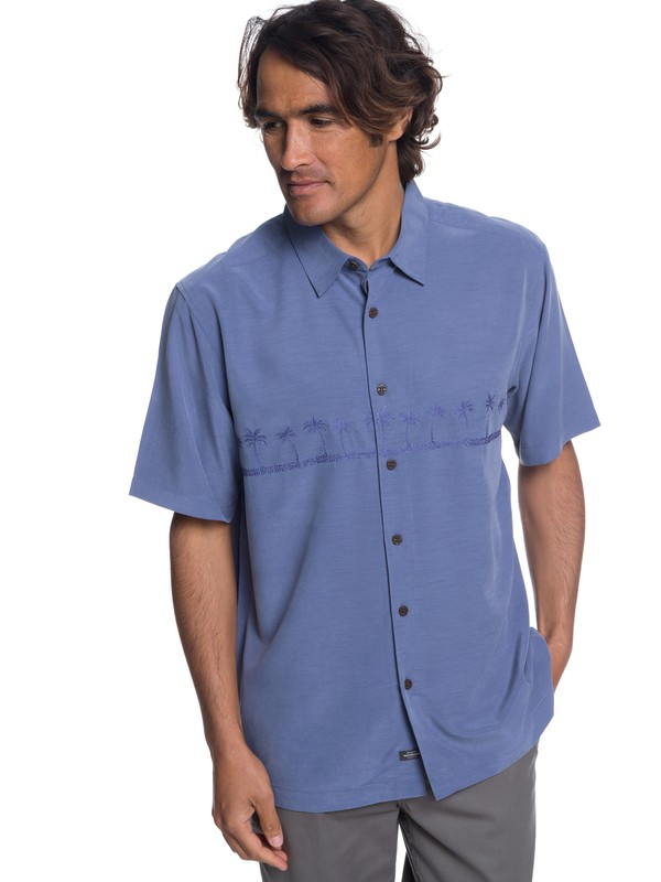 0 Waterman Tahiti Palms Short Sleeve Shirt Blue AQMWT03108 Quiksilver