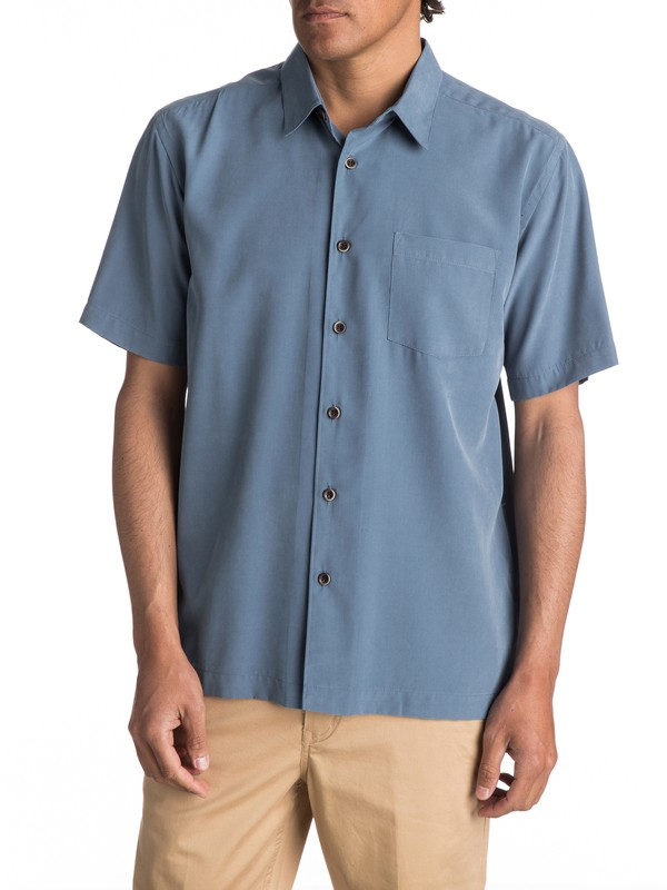 0 Waterman Cane Island Short Sleeve Shirt Blue AQMWT03113 Quiksilver