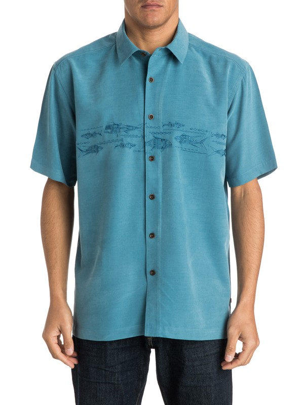 0 Men's Grassy Key Short Sleeve Shirt  AQMWT03133 Quiksilver