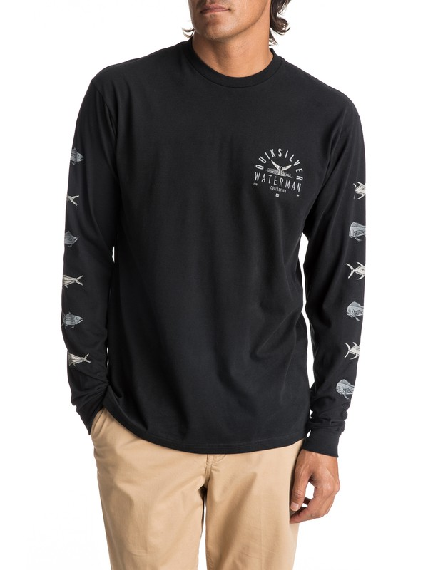 0 Men's Fresh Catch Long Sleeve Tee Black AQMZT03271 Quiksilver