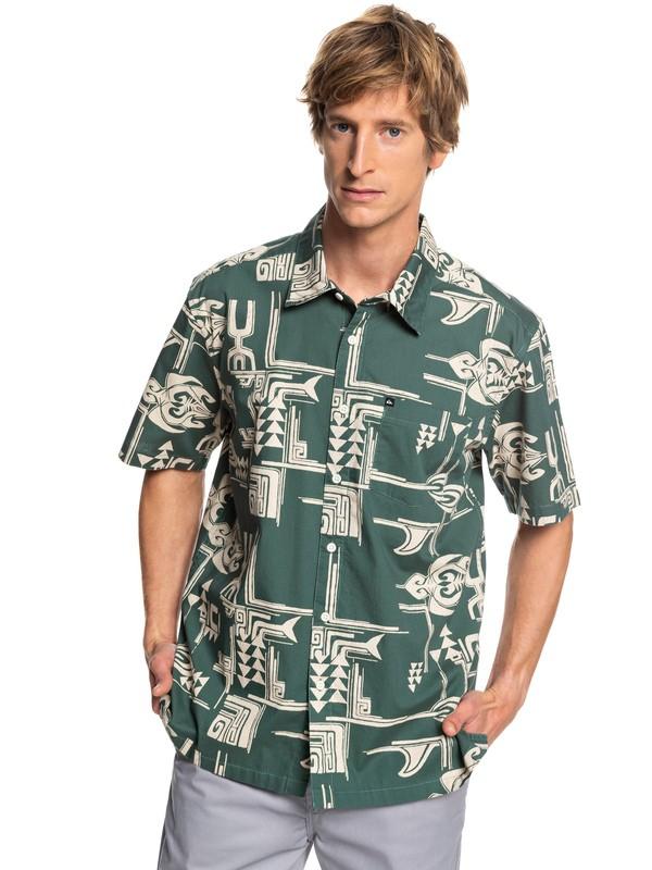 0 HI Dweller Printed Short Sleeve Shirt Green AQYWT03201 Quiksilver