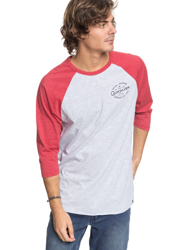 0 Hunters Patch - 3/4 Sleeve T-Shirt Grey AQYZT05462 Quiksilver