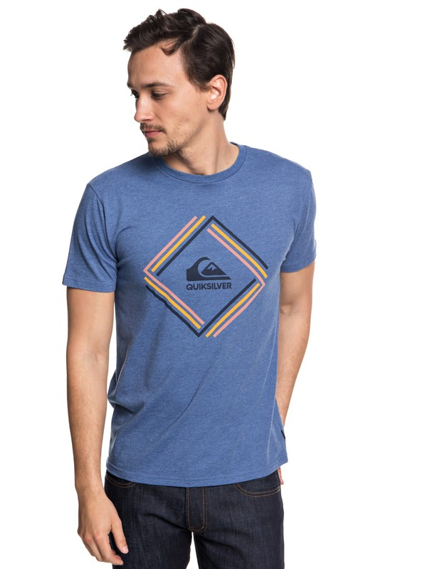 0 Men's Solid Edge Tee Blue AQYZT05558 Quiksilver