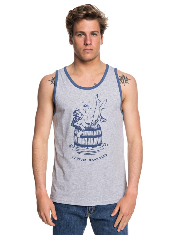 0 Men's Getting Barreled Tank Grey AQYZT05570 Quiksilver