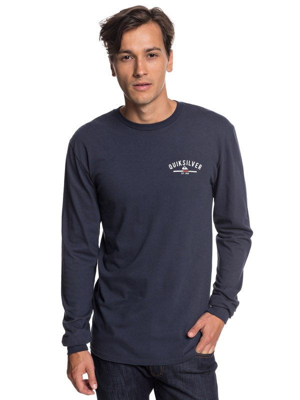 0 Simple Color Long Sleeve Tee Blue AQYZT05784 Quiksilver