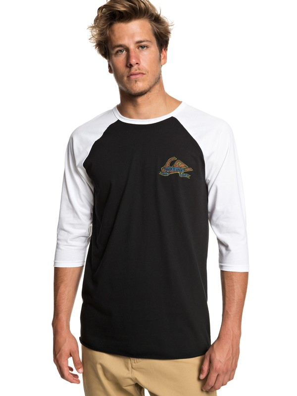 0 Tattered 3/4 Sleeve Tee Black AQYZT05944 Quiksilver