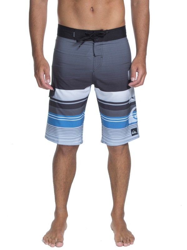 """0 Bermuda Boardshort Everyday Stripe Logo 22"""" Quiksilver Preto BR60012529 Quiksilver"""