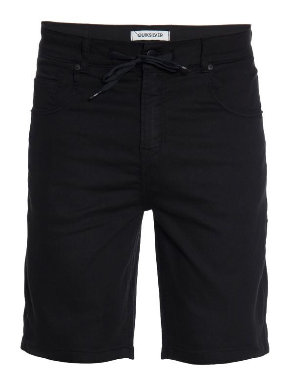 0 Bermuda Masculina Jeans  Straight com Bolso Traseiro Quiksilver Preto BR60021535 Quiksilver