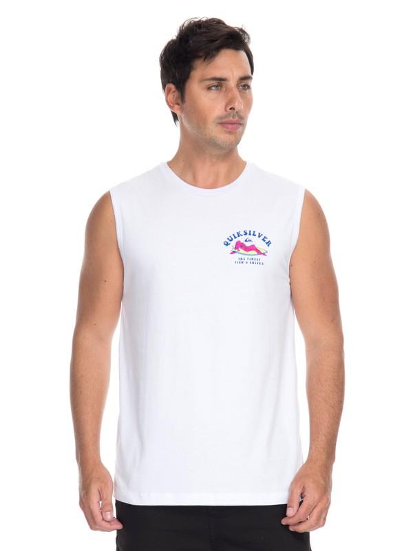0 Camiseta Regata Fish and Chicks Quiksilver Branco BR61232002 Quiksilver