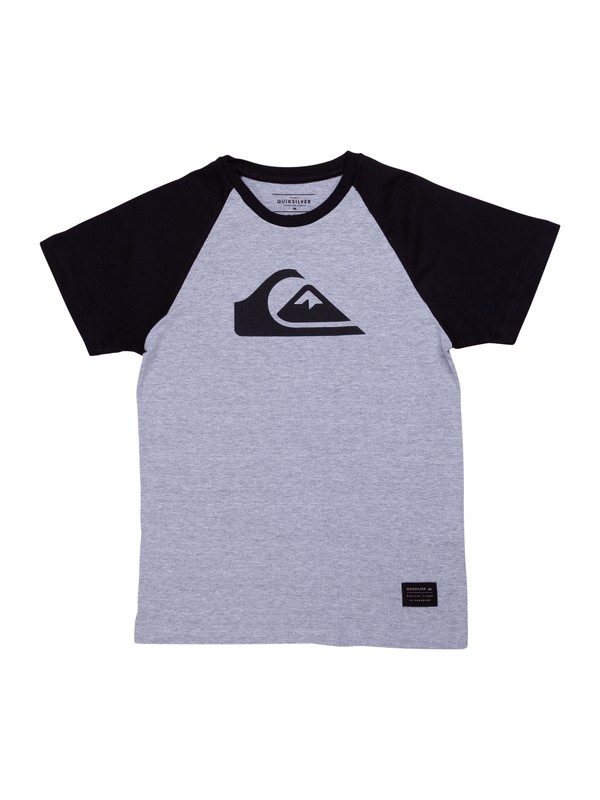 0 Camiseta Juvenil Raglan Logo Quiksilver Cinza BR68141321 Quiksilver