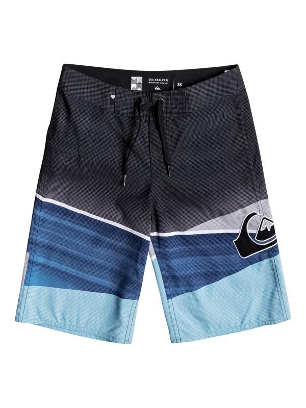 "0 Boy's 8-16 Slash Logo 19"" Boardshorts Blue EQBBS03218 Quiksilver"